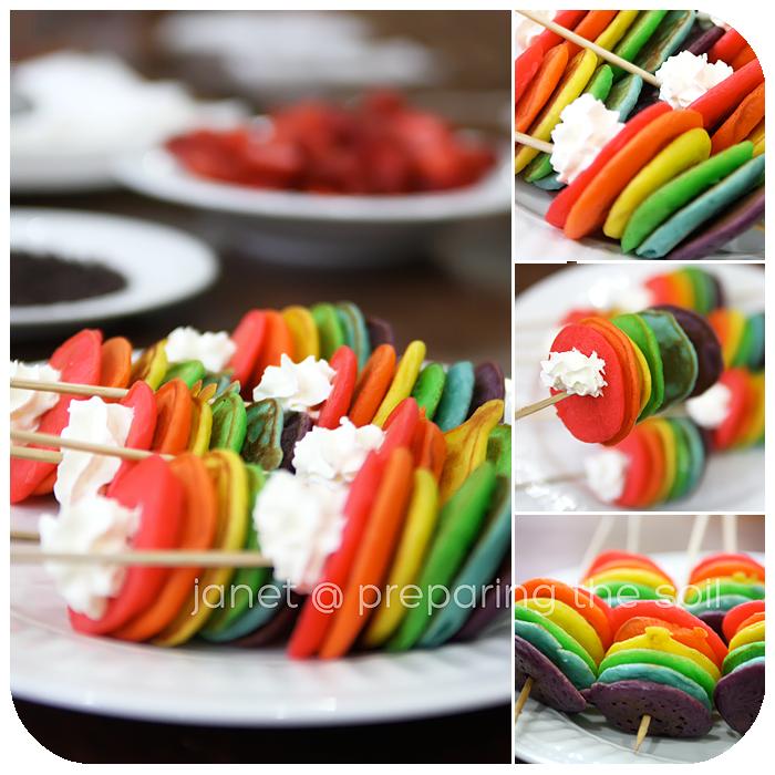 Double Rainbow Pancakes Recipe — Dishmaps